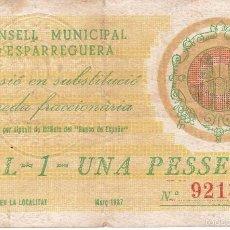 Billetes locales: BILLETE DE 1 PESETA DEL CONSELL MUNICIPAL D´ESPARREGUERA DEL AÑO 1937 (SELLO SECO). Lote 59933719