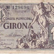 Billetes locales: BILLETE DE 1 PESETA DEL AJUNTAMENT DE GIRONA DEL AÑO 1937. Lote 60289683