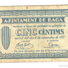 Billetes locales: BILLETE LOCAL DE BAGÀ (BARCELONA) 5 CÉNTIMOS. Lote 60730055