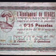 Billetes locales: BILLETE LOCAL BEGUES 25 CTS.. Lote 60795279