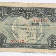 Billetes locales: BILBAO- 5 PESETAS- 01-01-1937. Lote 60963267