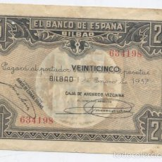 Billetes locales: BILBAO- 25 PESETAS- 01-01-1937. Lote 60963343