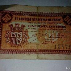 Billetes locales: CASPE ZARAGOZA ANTIGUO BILLETE ORIGINAL GUERRA CIVIL. Lote 61360280