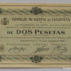 Billetes locales: BILLETE - 2 PESETAS - ESTOPIÑÁN (HUESCA) - 1937 - GUERRA CIVIL. Lote 61944524