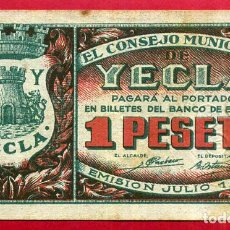 Billetes locales: BILLETE LOCAL , GUERRA CIVIL , 1 PESETA YECLA ,MURCIA 1937 , EBC , ORIGINAL , T393. Lote 64036023