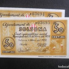 Billetes locales: PAREJA CORRELATIVA - PLANCHA - 50 CENTIMOS - SOLSONA. Lote 64516955