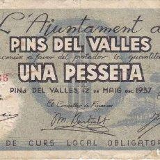 Billetes locales: BILLETE DE 1 PESETA DEL AJUNTAMENT DE PINS DEL VALLES DEL AÑO 1937 (SELLO SECO). Lote 65244963