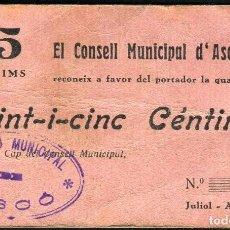 Billetes locales: 25 CENTIMOS - ASCÓ (TARRAGONA) - EBC RARO. Lote 66144414
