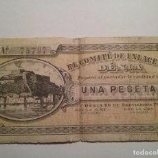 Billetes locales: DENIA. BILLETE LOCAL 1 PESETA. NUMERADO Y SELLADO POR EL COMITE DE ENLACE.. Lote 66247130