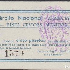 Billetes locales: BILLETES LOCALES - POBLA DE SEGUR - LLEIDA - 5 PESSETAS 1938 - T-2221A (SC). Lote 69535645