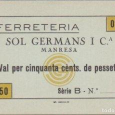 Billetes locales: BILLETES LOCALES - MANRESA - BARCELONA - 50 CTS. S/F. - L-3173 (SC-). Lote 69548021