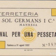 Billetes locales: BILLETES LOCALES - FERRETERIA SOL GERMANS I Cª - MANRESA - L-3174 (SC-). Lote 69548117