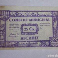 Billetes locales: 25 CÉNTIMOS DE ALCAÑIZ. 1937.. Lote 71019381