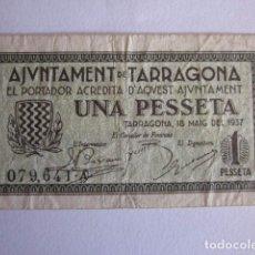 Billetes locales: PESETA DE TARRAGONA. 1937.. Lote 71070001