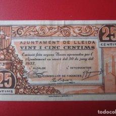 Billetes locales: AJUNTAMENT DE LLEIDA. BILLETE DE 25 CENTIMOS. 1937. Lote 195030253