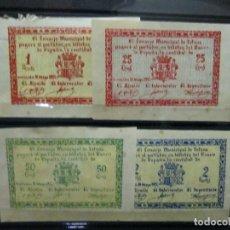 Billetes locales: SERIE DE 4 BILLETES CONSEJO MUNICIPAL DE TOTANA VEAN DESCRIPCION Y FOTOGRAFIAS. Lote 71706047