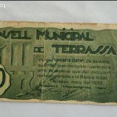 Billetes locales: BILLETE 50 CENTIMOS DE TERRASSA CON SELLO SECO MBC T-2848. Lote 71752487