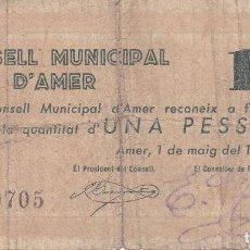 Billetes locales: BILLETE DE 1 PESETA DEL CONSELL MUNICIPAL D'AMER DEL AÑO 1937. Lote 73635879