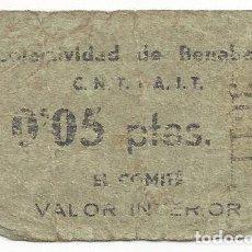 Billetes locales: COLECTIVIDAD DE BENABARRE ( HUESCA) 0,05 PTAS.. Lote 74682743