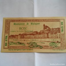 Billetes locales: BILLETE LOCAL, AJUNTAMENT DE BALAGUER 50 CTS S/C * PLANCHA * GUERRA CIVIL.. Lote 75033315