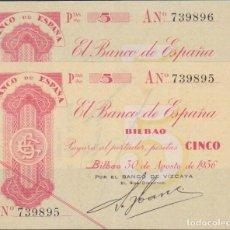 Billetes locales: BILLETES LOCALES - BILBAO - 5 PESETAS 1936 - SERIE A - PG-391 (EBC). Lote 76617287