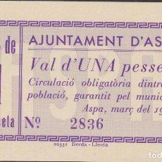 Billetes locales: BILLETES LOCALES - ASPA (LLEIDA) - 1 PESSETA 1937 - T-304A (SC-). Lote 76619959