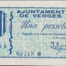 Billetes locales: BILLETES LOCALES - VERGES - GIRONA - 1 PTA. - S/F.- SERIE A 05689 - T-3149 (SC). Lote 173079695