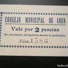 Billetes locales: 2 PESETAS DE AREN RARO. Lote 49946618