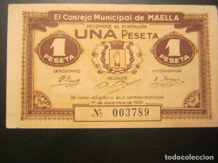 Billetes locales: 1 peseta de Maella raro y mas así - Foto 2 - 49946664