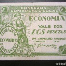 Billetes locales: 2 PESETAS DE BARBASTRO (CONSEJO COMARCAL). Lote 28710569