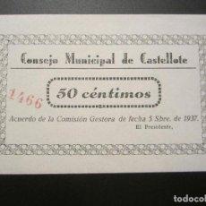 Billetes locales: 50 CTMOS DE CASTELLOTE (PLANCHA 5 SEPT DE 1937). Lote 28717605