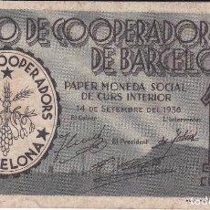 Billetes locales: BILLETE DE 10 CENTIMOS DE LA UNIO DE COOPERADORS DE BARCELONA DEL AÑO 1936. Lote 79140793