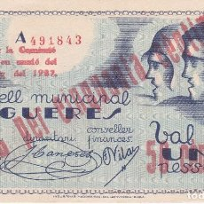 Billetes locales: BILLETE DE 50 CENTIMOS DEL CONSELL MUNICIPAL DE FIGUERES DEL AÑO 1937 SIN CIRCULAR. Lote 79147341