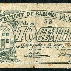 Billetes locales: BARONIA DE RIALB (LERIDA - LLEIDA) 10 CENTIMOS 1937 . Lote 79220797