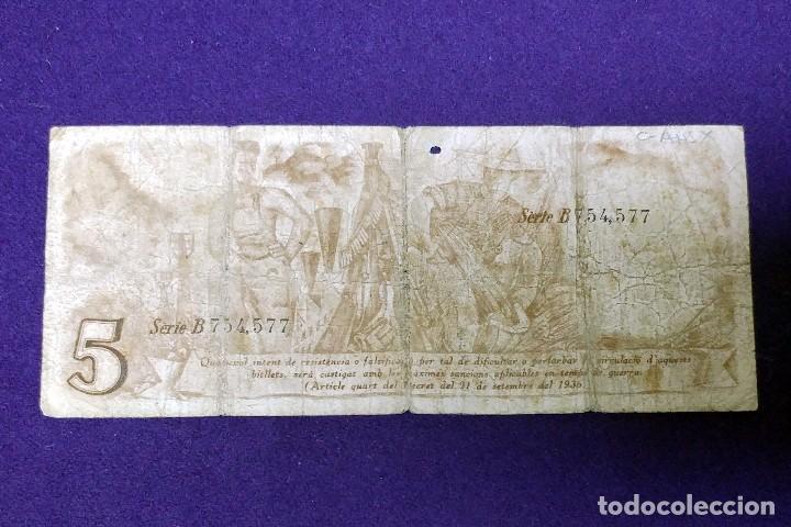 Billetes locales: BILLETE DE 5 PESETAS GENERALITAT CATALUNYA 5 PESSETES. 25 SEPTIEMBRE DE 1936 BARCELONA. GUERRA CIVIL - Foto 2 - 79775629