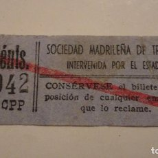 Billetes locales: SOCIEDAD MADRILEÑA DE TRANVIAS.INTERVENIDA POR EL ESTADO.BILLETE 15 CENTIMOS.. Lote 79938713