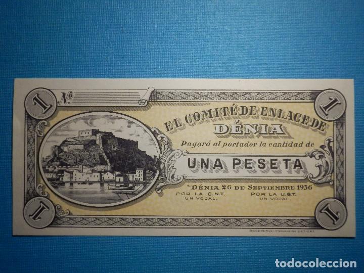 BILLETE LOCAL - VALENCIA - EL COMITE DE ENLACE DE DENIA - 26 SEPTIEMBRE DE 1936 - UNA PESETA - (Numismática - Notafilia - Billetes Locales)