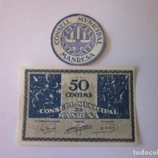 Billetes locales: 15 Y 50 CÉNTIMOS DE MANRESA. 1937. MUY BONITOS... Lote 80848731