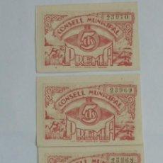 Billetes locales: TRIO CORRELATIVO DE BILLETES 5 CENTIMOS DEL AJUNTAMENT DE PREMIA DE 1937, AYUNTAMIENTO, BARCELONA. Lote 81343464