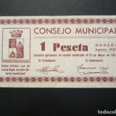 Billetes locales: 1 PESETA DE MONZÓN (ORIGINAL) SERIE A-5337 MUY BONITO. Lote 81572112