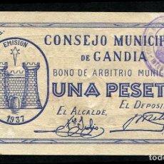 Billetes locales: GANDIA (VALENCIA) - 1 PESETA - CUÑO DE INTERVENCION EN ANGULO - RARO - S/C-. Lote 81612156