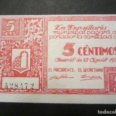 Billetes locales: 5 CÉNTIMOS DE GRAUS (HUESCA) SIN CIRCULAR. Lote 84814444