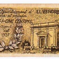 Billetes locales: 25 CÉNTIMOS. EL VENDRELL. AGOSTO 1937. Lote 85915388