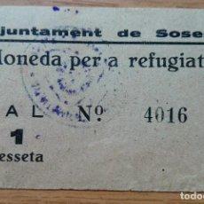 Billetes locales: 1 PESETA SOSES 1937 RRR. Lote 85919440
