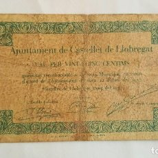 Billetes locales: F 1693 BILLETE AJUNTAMENT 25 CENTIMOS CASTELLET DEL LLOBREGAT - T844. Lote 86089328