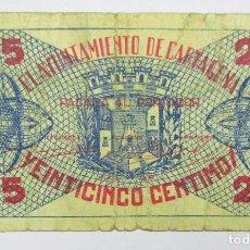 Billetes locales: CARTAGENA (MURCIA), 25 CÉNTIMOS DE 1937. LOTE 0539. Lote 86259044