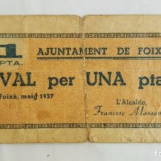 Billetes locales: F 1685 BILLETE 1 PESETA AJUNTAMENT DE FOIXA (OJO NO ES REPRODUCCIÓN) T-1198. Lote 156377761