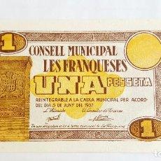 Billetes locales: F 1283 BILLETE 1 PESETA CONSELL MUNICIPAL LES FRANQUESES T-1226. Lote 86398672