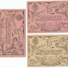 Billetes locales: LOTE DE 3 VALES A LA APLICACIÓN Y A LA CONDUCTA (ESCUELAS PIAS DE SABADELL, PRINC. S. XX).. Lote 86400000
