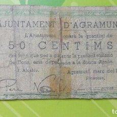 Billetes locales: 50 CÉNTIMOS MARZO 1937, AGRAMUNT. Lote 86427544